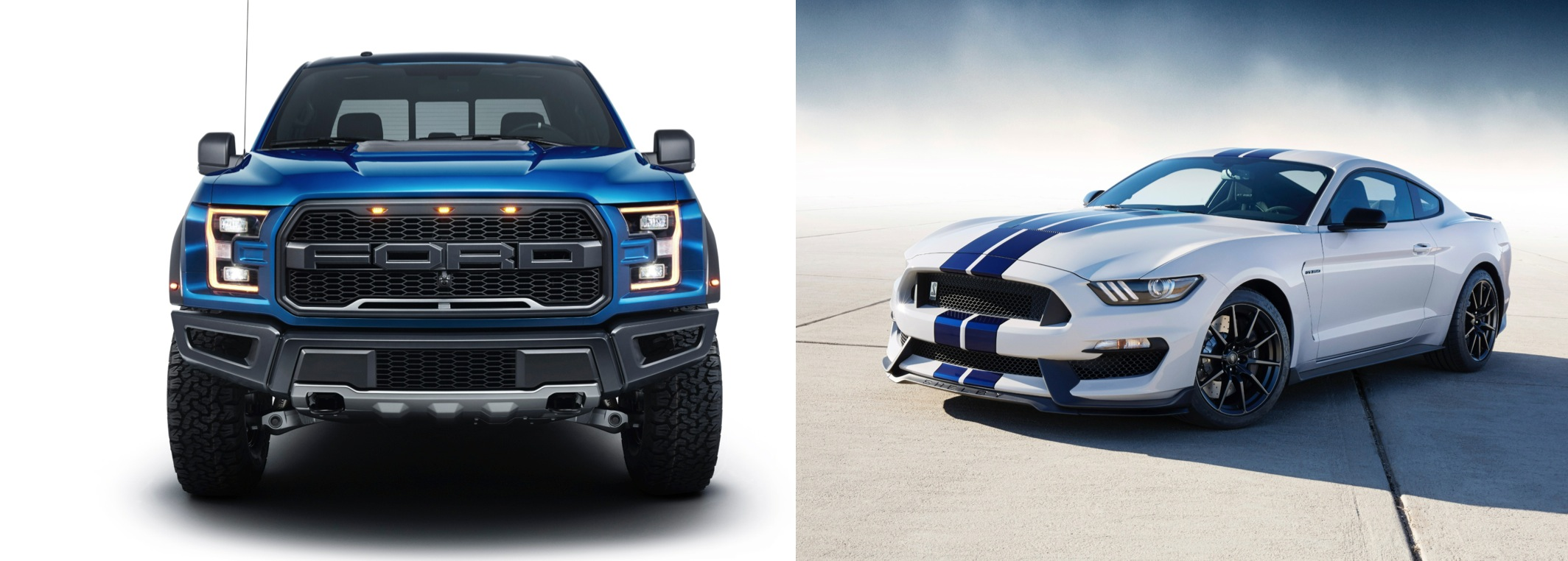 2017 Ford Raptor antecedent and GT350 corresponding pair.