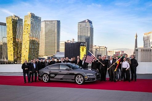 The ancestral exam expostulate of 560 miles of piloted pushing from Silicon Valley ends in Las Vegas on Monday, Jan 5, 2015. Dr. Ulrich Hackenberg, Member of a Board of Management obliged for Technical Development (holding German flag) distinguished a successful expostulate with a organisation that achieved it, along with Ricky Hudi, Executive Vice President Electric/Electronic Development (holding US flag) together with 'Jack'.