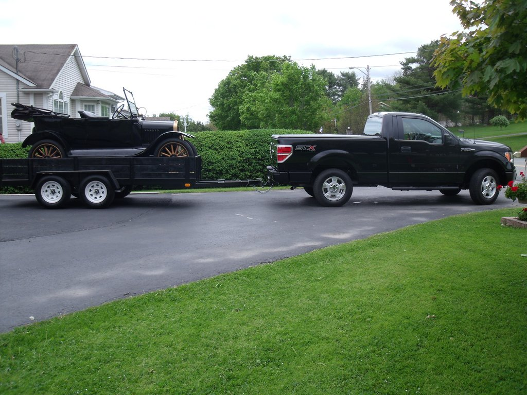 The Mader's Ford F-150 towing their easy Model T