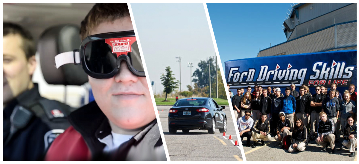 Young pushing ambassadors during a Ford Driving Skills For Life event