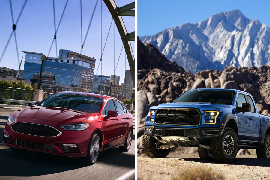 2017 Ford Fusion and a 2017 F-150 Raptor SuperCrew