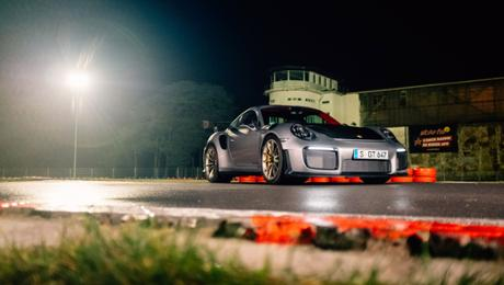 The Porsche 911 GT2 RS on a go-kart track