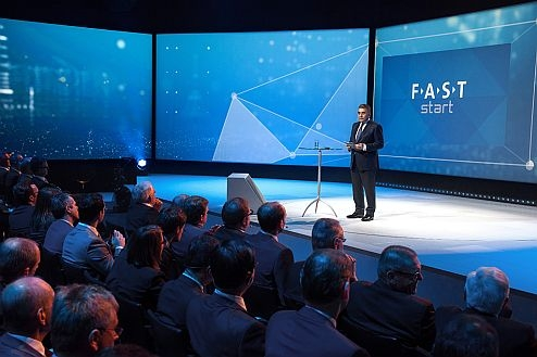 Dr. Francisco Javier Garcia Sanz, Member of a Board of Management of Volkswagen AG with shortcoming for 'Procurement', introduces a new destiny beginning of a Volkswagen Group during a FAST-event.